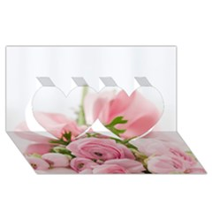 Romantic Pink Flowers Twin Hearts 3d Greeting Card (8x4)