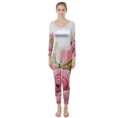 Romantic Pink Flowers Long Sleeve Catsuit by yoursparklingshop