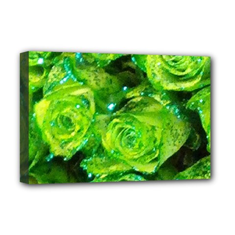 Festive Green Glitter Roses Valentine Love  Deluxe Canvas 18  X 12   by yoursparklingshop