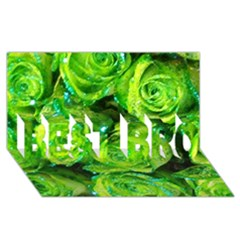Festive Green Glitter Roses Valentine Love  Best Bro 3d Greeting Card (8x4)  by yoursparklingshop