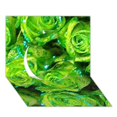 Festive Green Glitter Roses Valentine Love  Circle 3d Greeting Card (7x5)  by yoursparklingshop