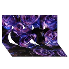 Purple Glitter Roses Valentine Love Twin Hearts 3d Greeting Card (8x4)  by yoursparklingshop