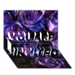 Purple Glitter Roses Valentine Love You Are Invited 3d Greeting Card (7x5)  by yoursparklingshop