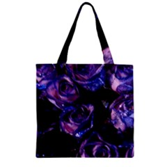 Purple Glitter Roses Valentine Love Zipper Grocery Tote Bag by yoursparklingshop