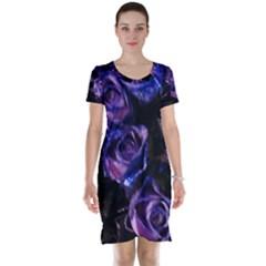 Purple Glitter Roses Valentine Love Short Sleeve Nightdress by yoursparklingshop