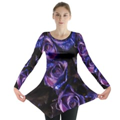 Purple Glitter Roses Valentine Love Long Sleeve Tunic  by yoursparklingshop