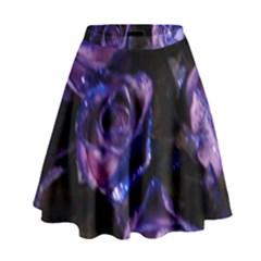 Purple Glitter Roses Valentine Love High Waist Skirt by yoursparklingshop