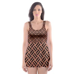 Woven2 Black Marble & Copper Brushed Metal (r) Skater Dress Swimsuit