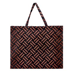 Woven2 Black Marble & Copper Brushed Metal Zipper Large Tote Bag by trendistuff