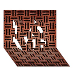 Woven1 Black Marble & Copper Brushed Metal (r) Love 3d Greeting Card (7x5) by trendistuff