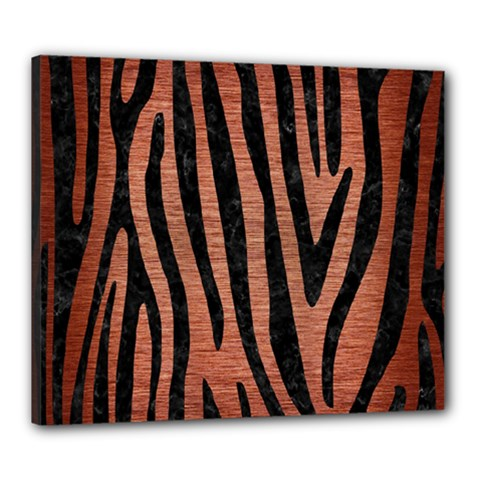 Skin4 Black Marble & Copper Brushed Metal Canvas 24  X 20  (stretched) by trendistuff