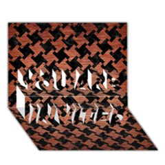 Houndstooth2 Black Marble & Copper Brushed Metal You Are Invited 3d Greeting Card (7x5) by trendistuff
