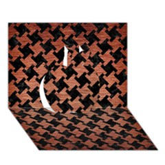 Houndstooth2 Black Marble & Copper Brushed Metal Apple 3d Greeting Card (7x5) by trendistuff