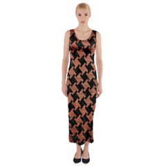 Houndstooth2 Black Marble & Copper Brushed Metal Fitted Maxi Dress by trendistuff