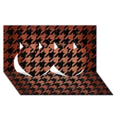 Houndstooth1 Black Marble & Copper Brushed Metal Twin Hearts 3d Greeting Card (8x4) by trendistuff
