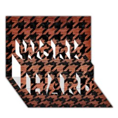 Houndstooth1 Black Marble & Copper Brushed Metal Work Hard 3d Greeting Card (7x5)
