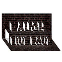 Brick1 Black Marble & Copper Brushed Metal Laugh Live Love 3d Greeting Card (8x4) by trendistuff