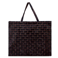Brick1 Black Marble & Copper Brushed Metal Zipper Large Tote Bag by trendistuff