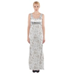 Elegant Seamless Floral Ornaments Pattern Maxi Thigh Split Dress by TastefulDesigns
