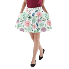 Hand Painted Spring Flourishes Flowers Pattern A Line Pocket Skirt by TastefulDesigns