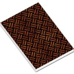 Woven2 Black Marble & Brown Burl Wood Large Memo Pads