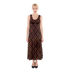 Woven2 Black Marble & Brown Burl Wood Sleeveless Maxi Dress by trendistuff