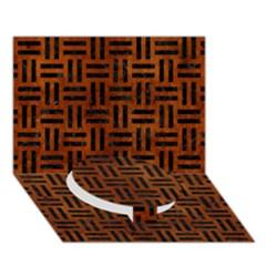 Woven1 Black Marble & Brown Burl Wood (r) Circle Bottom 3d Greeting Card (7x5) by trendistuff
