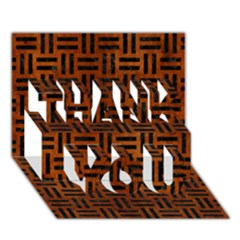 Woven1 Black Marble & Brown Burl Wood (r) Thank You 3d Greeting Card (7x5) by trendistuff