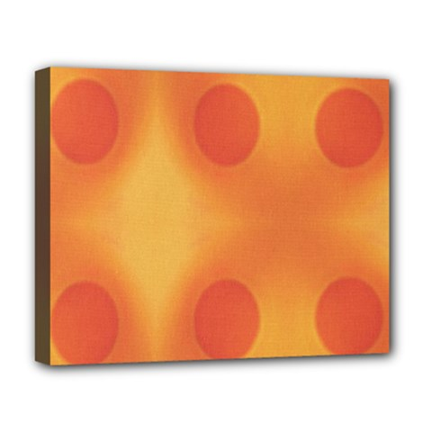 Sunny Happy Orange Dots Deluxe Canvas 20  x 16   by yoursparklingshop