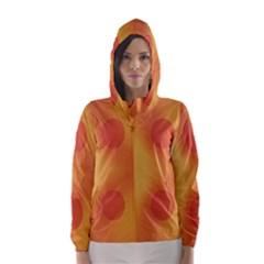 Sunny Happy Orange Dots Hooded Wind Breaker (Women) by yoursparklingshop