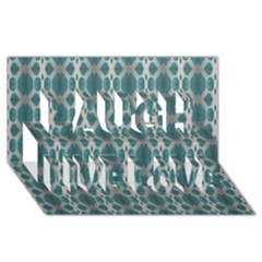 Tropical Blue Abstract Ocean Drops Laugh Live Love 3d Greeting Card (8x4)  by yoursparklingshop