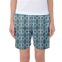 Tropical Blue Abstract Ocean Drops Women s Basketball Shorts by yoursparklingshop