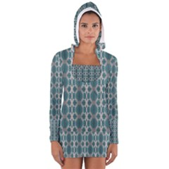 Tropical Blue Abstract Ocean Drops Women s Long Sleeve Hooded T Shirt by yoursparklingshop