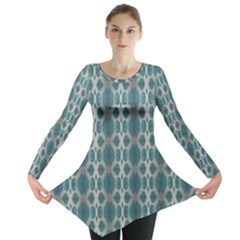 Tropical Blue Abstract Ocean Drops Long Sleeve Tunic  by yoursparklingshop