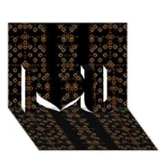 Dark Arabic Stripes I Love You 3d Greeting Card (7x5)  by dflcprints