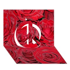 Red Roses Love Peace Sign 3d Greeting Card (7x5)  by yoursparklingshop