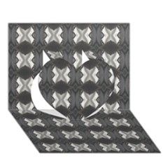 Black White Gray Crosses Heart 3d Greeting Card (7x5)  by yoursparklingshop