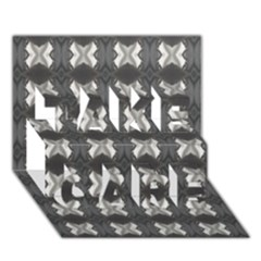 Black White Gray Crosses Take Care 3d Greeting Card (7x5)  by yoursparklingshop