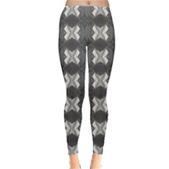 Black White Gray Crosses Leggings  by yoursparklingshop