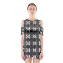 Black White Gray Crosses Cutout Shoulder Dress by yoursparklingshop