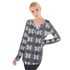 Black White Gray Crosses Women s Tie Up Tee by yoursparklingshop