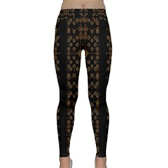 Dark Arabic Stripes Print Yoga Leggings by dflcprintsclothing