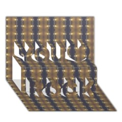 Black Brown Gold Stripes You Rock 3d Greeting Card (7x5)  by yoursparklingshop
