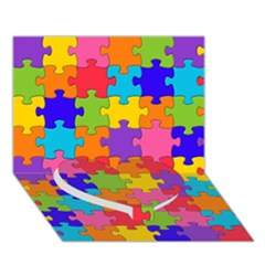 Funny Colorful Jigsaw Puzzle Heart Bottom 3d Greeting Card (7x5)