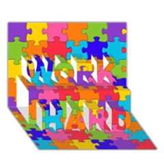 Funny Colorful Jigsaw Puzzle Work Hard 3d Greeting Card (7x5)