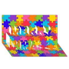 Funny Colorful Jigsaw Puzzle Merry Xmas 3d Greeting Card (8x4)
