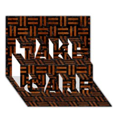 Woven1 Black Marble & Brown Burl Wood Take Care 3d Greeting Card (7x5) by trendistuff