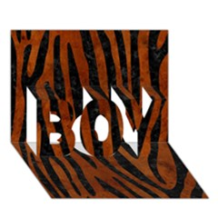 Skin4 Black Marble & Brown Burl Wood Boy 3d Greeting Card (7x5)