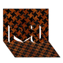 Houndstooth2 Black Marble & Brown Burl Wood I Love You 3d Greeting Card (7x5)