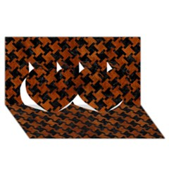 Houndstooth2 Black Marble & Brown Burl Wood Twin Hearts 3d Greeting Card (8x4) by trendistuff